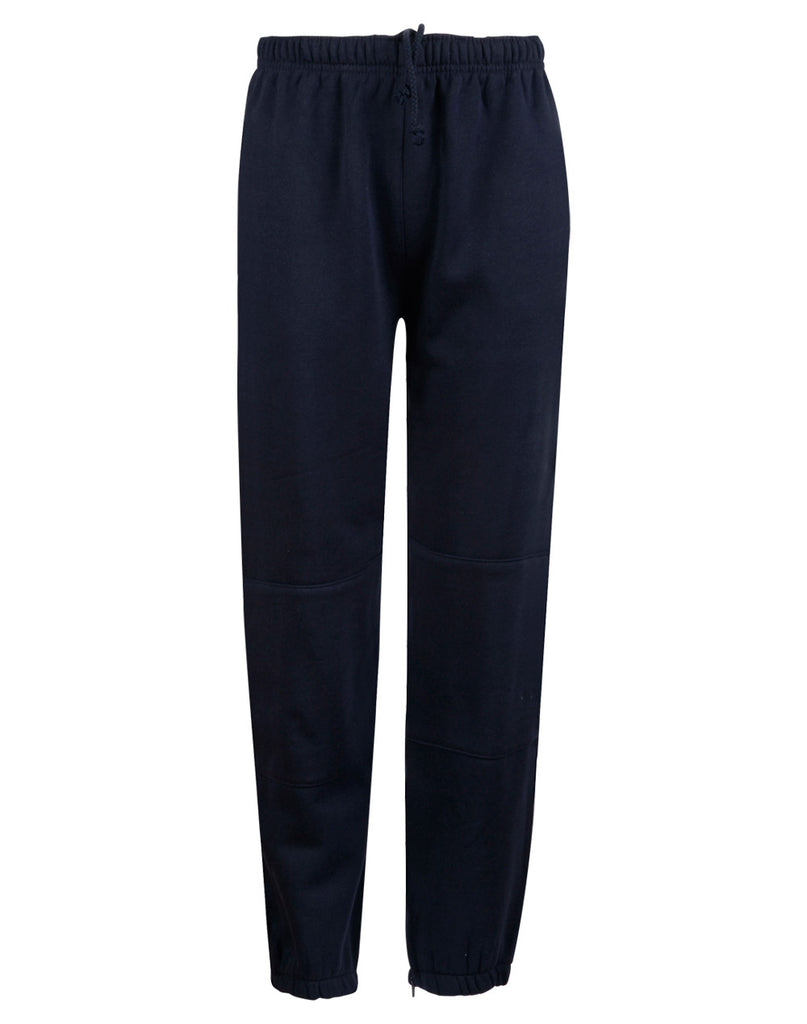 Winning Spirit  Kids' Traditional Fleece Trackpants with Zip,Cuffs and knee padding (TP01K)