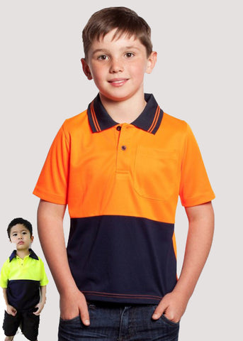 JB's Kids Hi Vis  Non Cuff Traditional Polo (6HVNC)