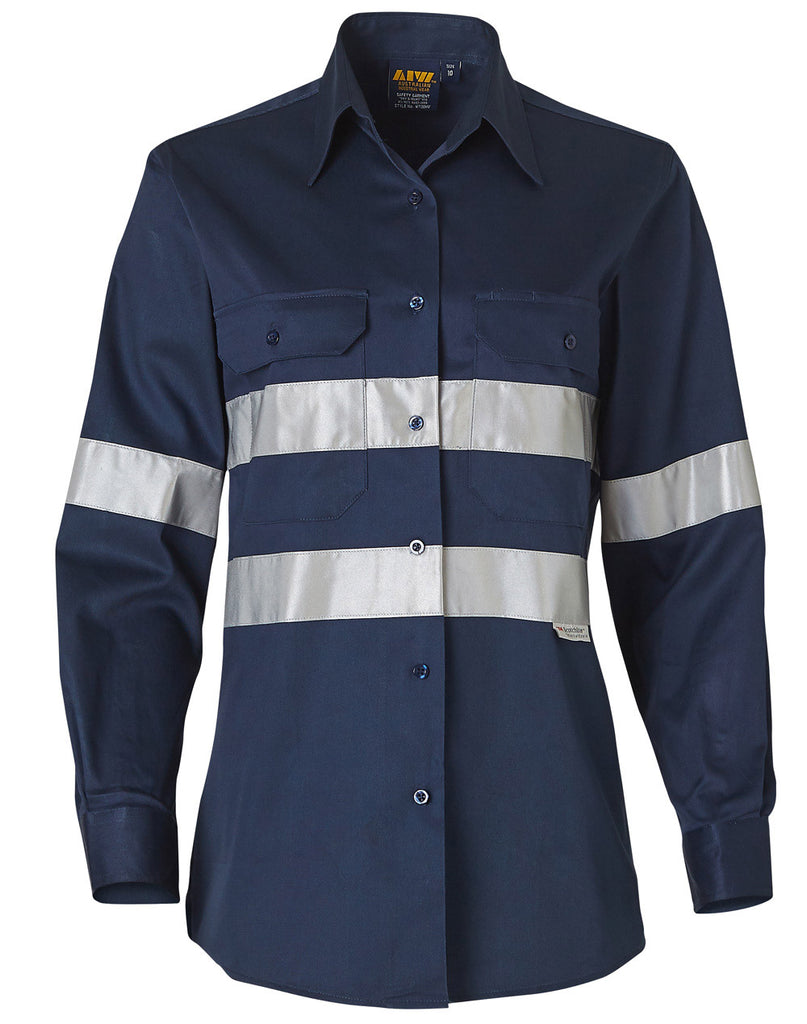 Winning Spirit Womens Cotton Drill Work Shirt With 3m Tapes (WT08HV)