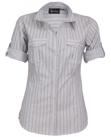 Identitee-Cassidy Ladies Shirts-White Steel/Grey