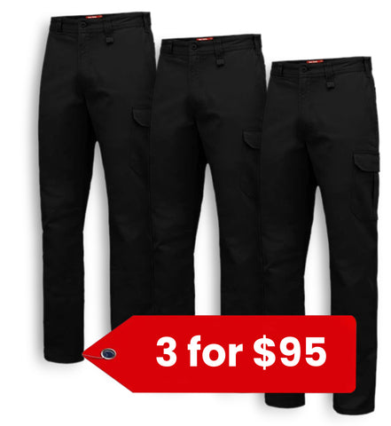 Hard Yakka Basic Stretch Drill Cargo Pant (Y02597-1)-3 Pack