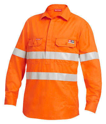 Hard Yakka Shieldtec Fr Full Hi-Visibility Closed Front Long Sleeve Shirt With Fr Tape (Y04150)