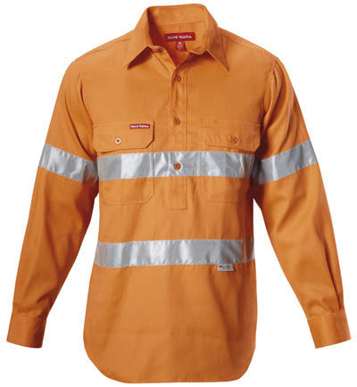 Hard Yakka Hi-visibility Closed Front Cotton Drill Shirt With 3m Tape Long Sleeve (Y07899)