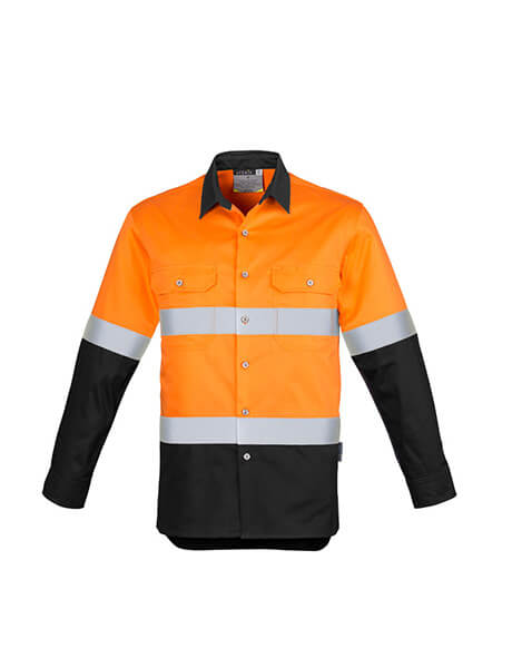 Syzmik Mens Hi Vis Spliced Industrial Shirt - Hoop Taped (ZW123)