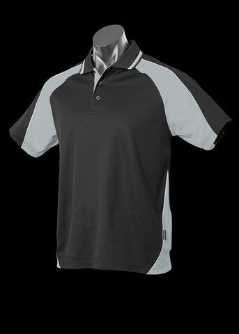 Aussie Pacific-Aussie Pacific Kid's Panorama Polo-Black/Ashe/White / 4-Uniform Wholesalers - 2