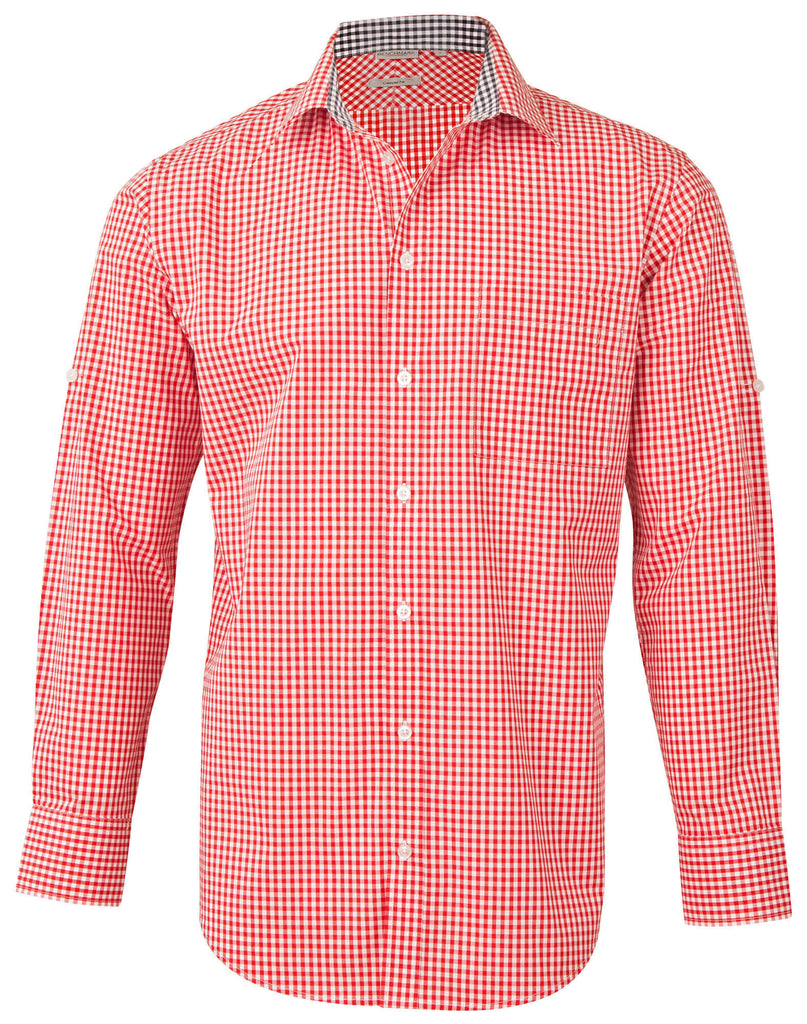 Winning Spirit Men's Gingham Check Long Sleeve Shirt with Roll-up Tab Sleeve (M7330L)