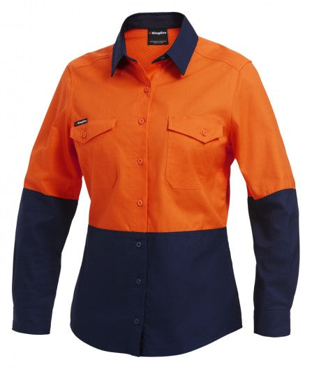 King Gee Workcool 2 Women's Hi-Vis Spliced Shirt Long Sleeve (K44543)