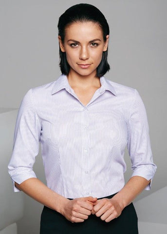 Aussie Pacific-Aussie Pacific Lady Henley 3/4 Sleeve Shirt-White/Purple / 4-Uniform Wholesalers - 2