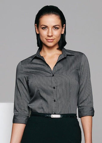 Aussie Pacific-Aussie Pacific Lady Henley 3/4 Sleeve Shirt-Black/Silver / 4-Uniform Wholesalers - 1