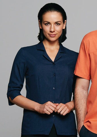 Aussie Pacific-Aussie Pacific Lady Springfield 3/4 Sleeve Shirt 1st (7 Colour)--Uniform Wholesalers