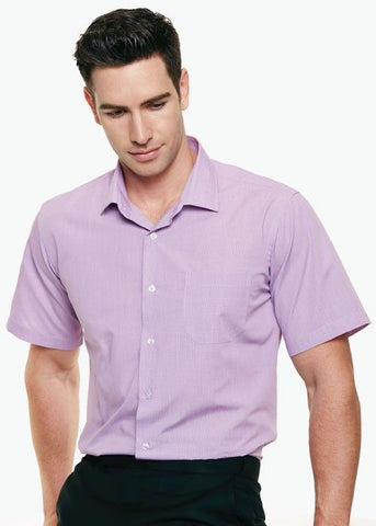 Aussie Pacific-Aussie Pacific Mens Grange Short Sleeve Shirt-Mauve / XXS-Uniform Wholesalers - 1