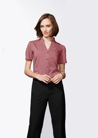 Biz Collection Ladies Chevron Stand Collar Shirt (S262LS)
