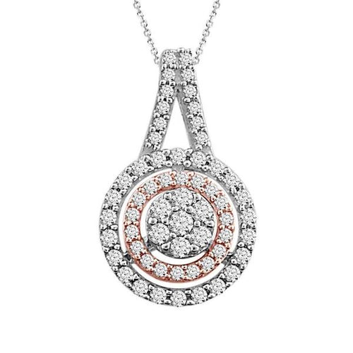 LADIES PENDANT 1/4 CT ROUND DIAMOND 10K TT WHITE & ROSE GOLD