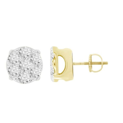 MEN'S EARRINGS 1/4 CT ROUND DIAMOND 10K YELLOW GOLD