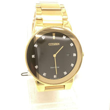 Citizen Axiom Eco-Drive Tono Dorado Acero Inoxidable Esfera Negra con Diamantes