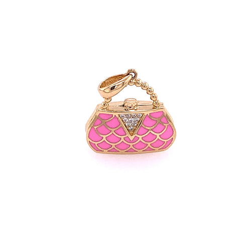 14K Yellow Gold Bag Charm with Cubic Zirconia 4.51 Grams