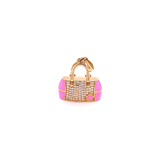14K Yellow Gold Pink Bag Charm with Cubic Zirconia 5.44 Grams