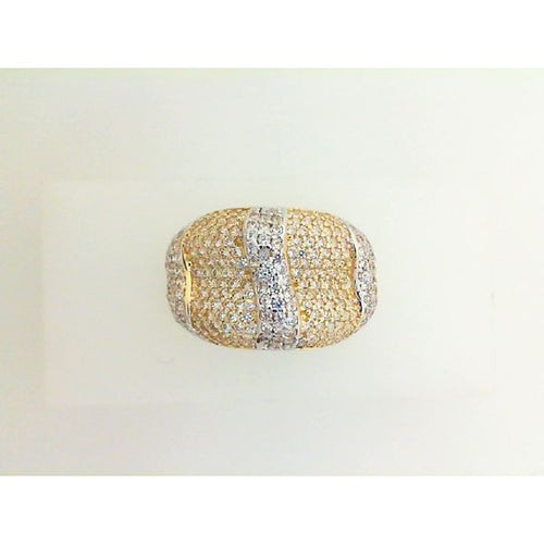 14K Two Tone Synthetic Diamond Ring 4.04 Grams Size 7.25