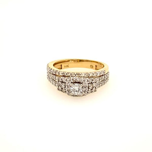 Square Halo Style Diamond Wedding Set