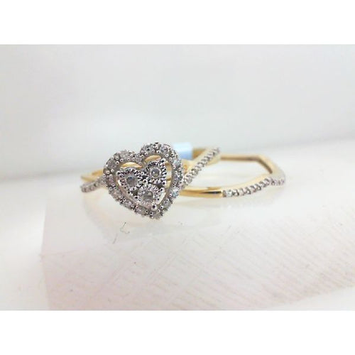 0.15CTW 10K Two Tone Heart Diamond Engagement Ring 3.26 Grams Size 7