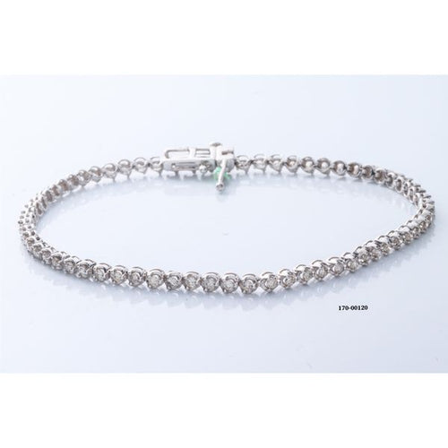 10K White Gold Diamond Bracelet 7 Inches 3.88 Grams