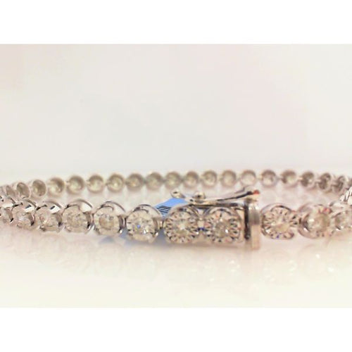 14K White Gold Diamond Tennis Bracelet 4.5MM 7.5 Inches 11.6 Grams