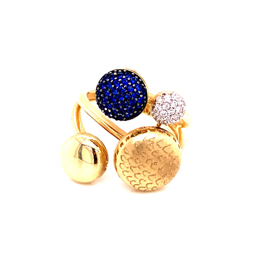 14K Yellow Gold Ring with Blue Stone and Cubic Zirconia Size 7 4.67 Grams