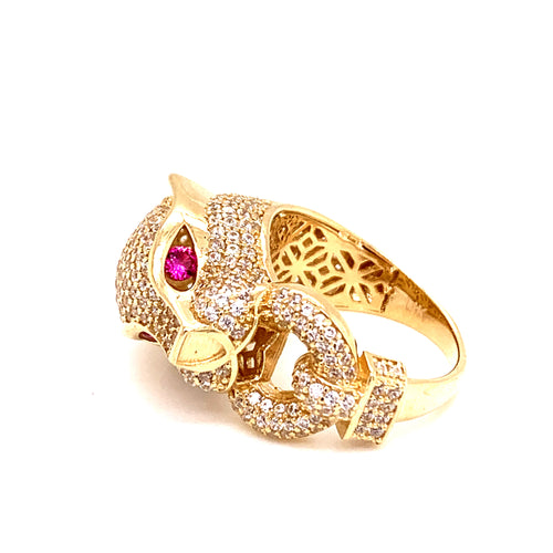 14K Yellow Gold Panther Ring with Red Eyes and Cubic Zirconia Size 7 7.78 Grams