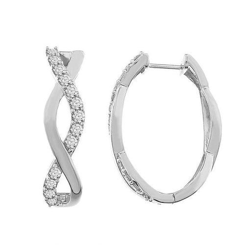 10K White Gold Round Diamond Earring 1.0CTW