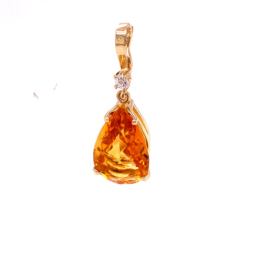 14K Yellow Gold Pear Shape Pendant with Yellow Stones 4.66 Grams