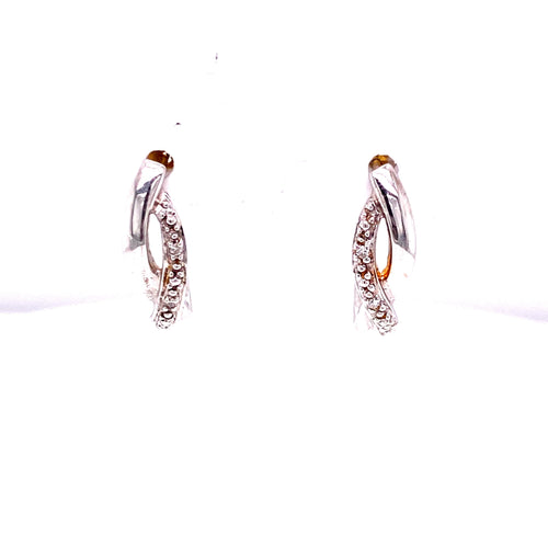 14K Two Tone Freestyle Diamond Stud Earrings
