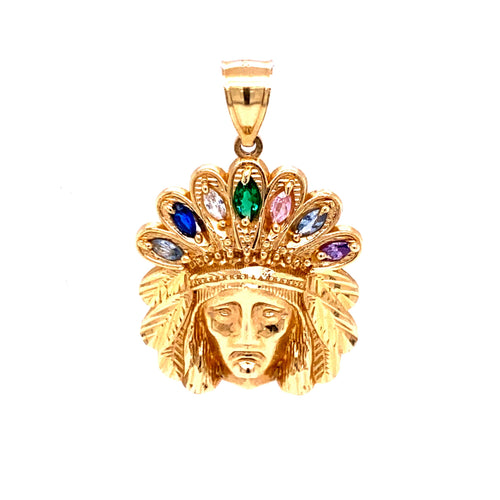 14K Indian Head Pendant with Colored Feathers 6.7 grams