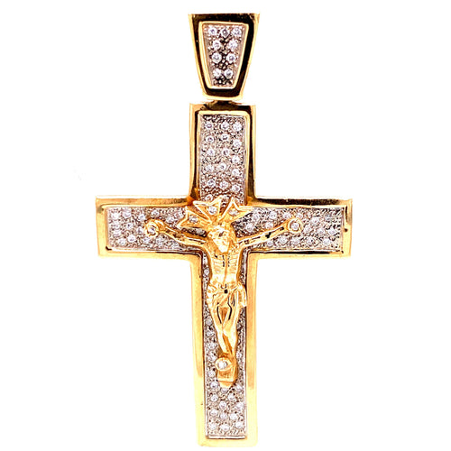 14K Two Tone Crucifix Shaped Pendant with Diamonds 16.9 Grams