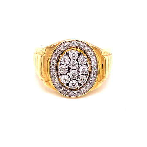10K Two Tone Ring with 0.50 Diamonds Oval Shape Size 10