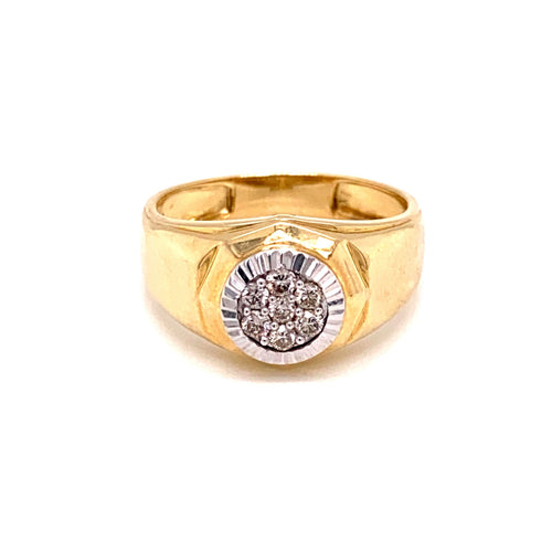 0.2CTW 10K Two Tone Cluster Style Diamond Ring Size 10