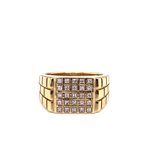 0.25CTW 10K Two Tone Rectangular Style Men's Ring with Diamonds Size 10