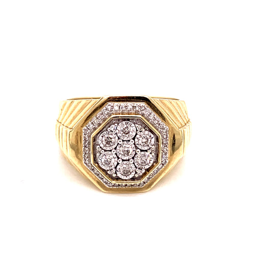 0.35 Ctw 10K Two Tone Men's Ring with Octagonal Diamond Size 10