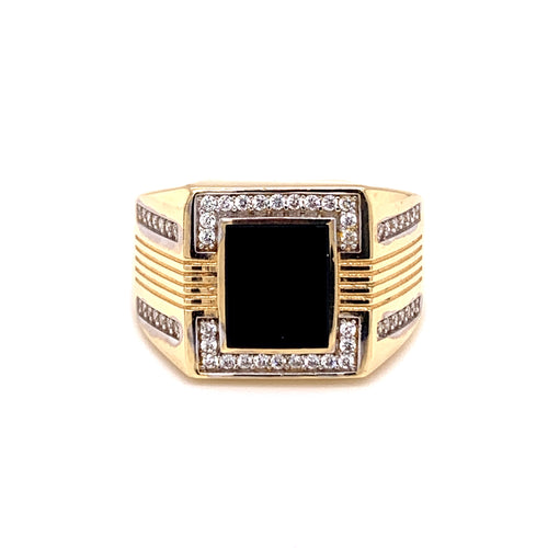 14K Two Tone Ring with Onyx Stone with Zirconias Size11