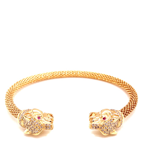 14K Yellow Gold Panther Style Bracelet with Red and White Stones 6MM 33.59 Grams