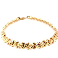 14K Yellow Gold Heart Stamped Bracelet 5.5mm 7.25 Inches 5.60 Grams