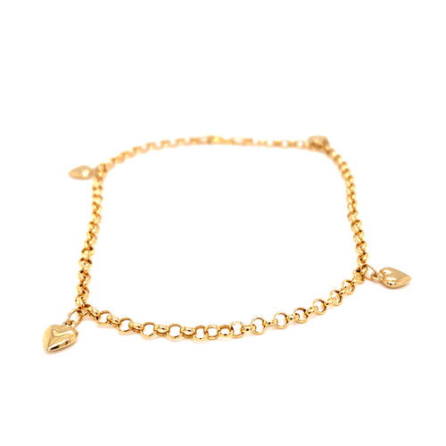 14K Yellow Gold 3MM Heart Anklet 10 Inches 2.17 Grams