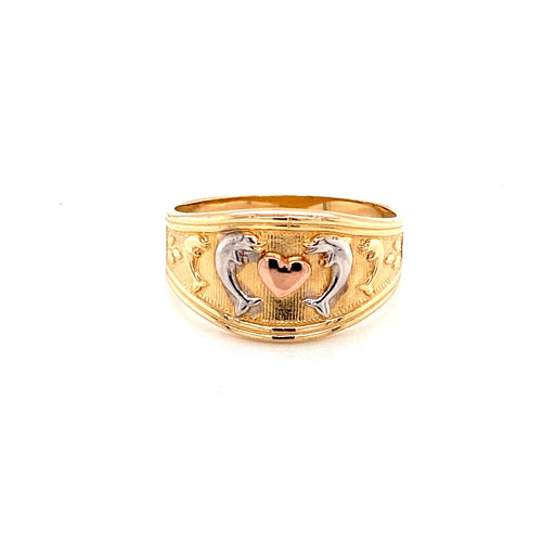 14K Tri-Color Ring with Dolphin Size 9.75