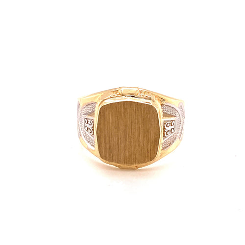 14K Two Tone Square Ring To Personalize Size 11.25