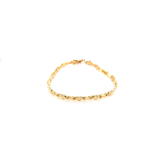 14K Yellow Gold Heart Stamped Bracelet 4.5mm 7.5 Inches 4.20 Grams