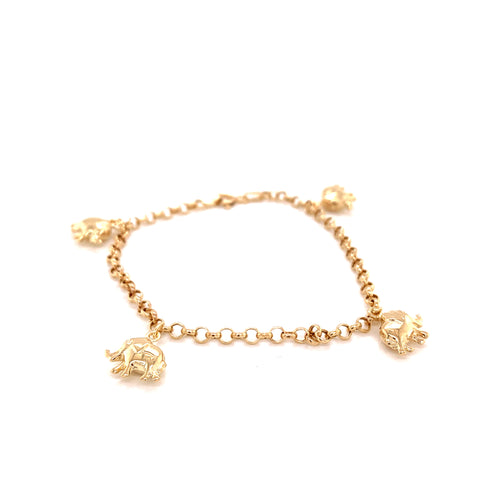 14K Yellow Gold Elephant Bracelet 2.5 Mm 7 Inches 2.49 Grams