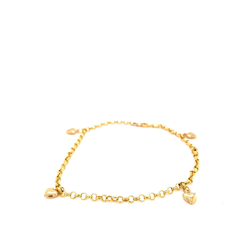 14K Yellow Gold Heart Anklet 3Mm 9 Inches 2.33 Grams