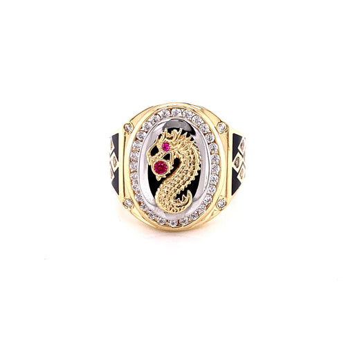 14K Two Tone Dragon Ring with Red Onyx Stone and Cubic Zircona Size 11 11.50 Grams