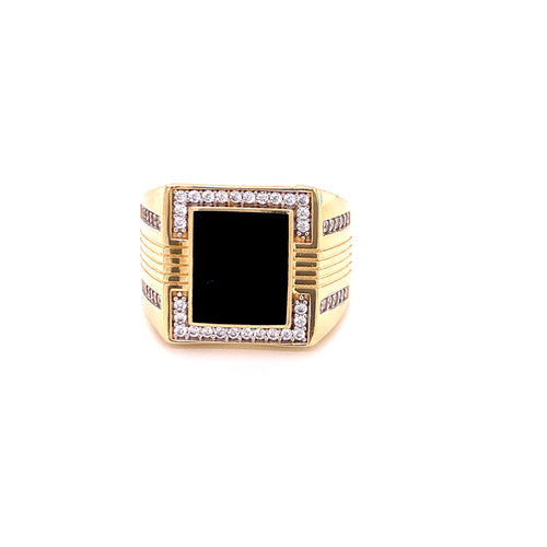 14K Yellow Gold Square Onyx Ring with Cubic Zirconia Size 11 11.35 Grams