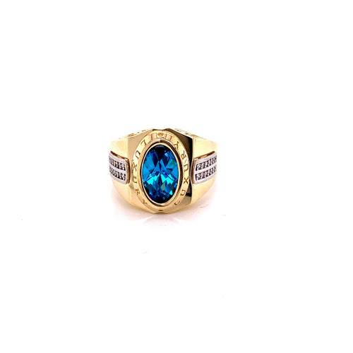14K Two Tone Ring with Stone and Cubic Zirconia Size 11 9.33 Grams