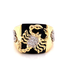 14K Two Tone Ring with Scorpion and Cubic Zirconia Size 11 8.24 Grams